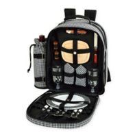 Picnic at Ascot Houndstooth Collection 2-Person Picnic Backpack in Black/White