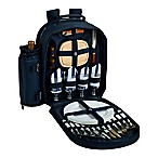 Picnic at Ascot Chevron Collection 4-Person Picnic Backpack in Navy/White
