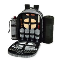 Picnic at Ascot Houndstooth Collection 4-Person Picnic Backpack with Blanket in Black/White