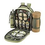 Picnic at Ascot Hamptons Collection 4-Person Picnic Backpack with Blanket in Olive
