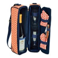 Picnic at Ascot Diamond Collection Sunset Wine Tote for 2 in Orange/Navy