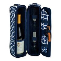 Picnic at Ascot Trellis Collection Sunset Wine Tote for 2 in Blue