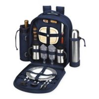 Picnic at Ascot Bold Collection 2-Person Picnic and Coffee Backpack in Navy/White