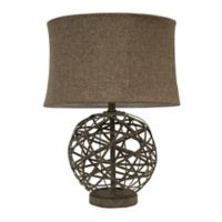 Décor Therapy Strapped Ball Table Lamp in Antique Grey with Tweed Shade