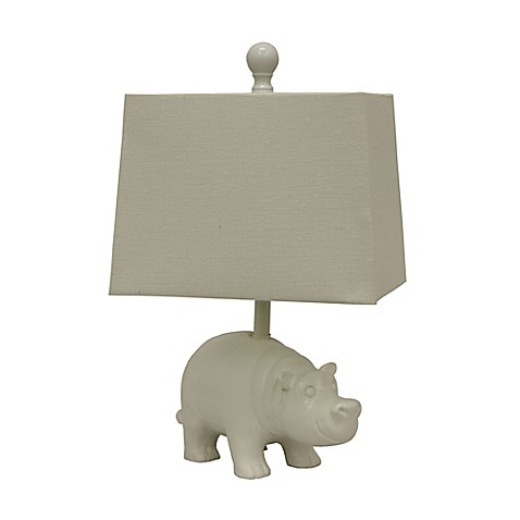 D cor therapy happy hippo table lamp in white with linen for Hippo table for sale