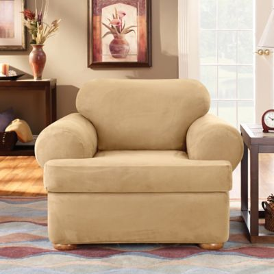 Sure Fit® Stretch Suede 3 Piece T Chair Slipcover In Camel