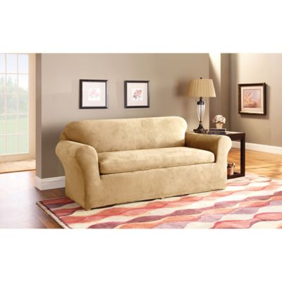 Sure Fit® Stretch Suede 3 Piece Sofa Slipcover In Camel