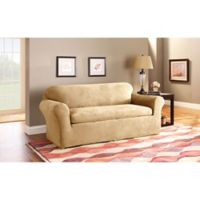 Sure Fit® Stretch Suede 3-Piece Sofa Slipcover in Camel