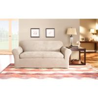 Sure Fit® Stretch Suede 3-Piece Sofa Slipcover in Taupe