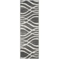 Safavieh Adirondack Curved Lines 2-Foot 6-Inch x 8-Foot Runner in Charcoal/Ivory