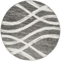 Safavieh Adirondack Curved Lines 6-Foot Round Area Rug in Charcoal/Ivory