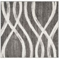 Safavieh Adirondack Curved Lines 8-Foot Square Area Rug in Charcoal/Ivory