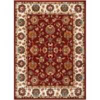 Safavieh Summit Floral Border 9-Foot x 12-Foot Area Rug in Red/Ivory