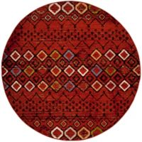 Safavieh Amsterdam Tribal 6-Foot 7-Inch Round Area Rug in Terracotta