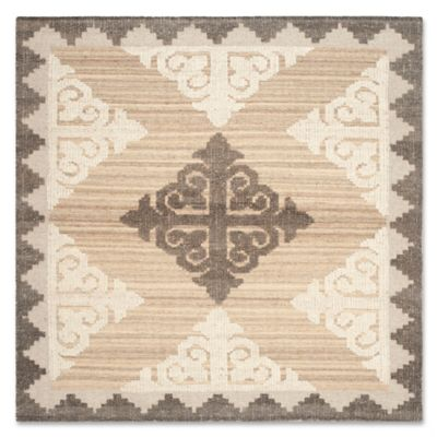 Safavieh Kenya Damask 7-Foot Square Area Rug in Brown/Charcoal - Buy 7' Square Rug From Bed Bath & Beyond