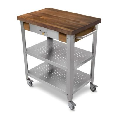 Genial John Boos Walnut Wood Top Kitchen Cart In Stainless Steel