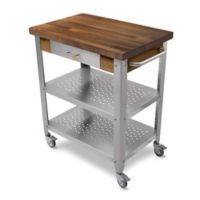 John Boos Walnut Wood Top Kitchen Cart in Stainless Steel