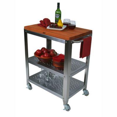 John Boos Culinarte Cherry Wood Top Kitchen Cart