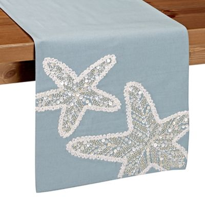 Beaded Starfish 72 Inch Table Runner In Blue