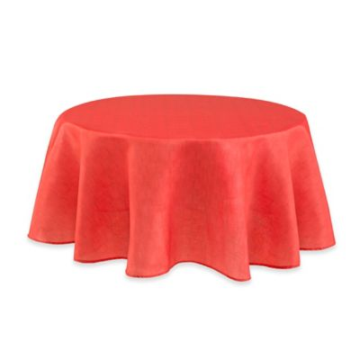 Lovely Mason 70 Inch Round Tablecloth In Coral