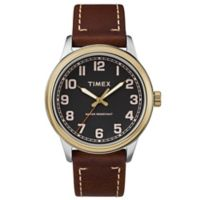 Timex® Men's 40mm New England Black Dial Watch in Goldtone with Brown Leather Strap
