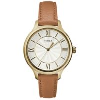 Timex® Ladies' 36mm Peyton Watch in Goldtone with Brown Leather Strap