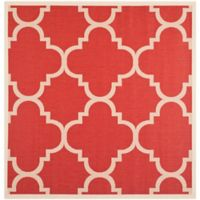 Safavieh Courtyard Quatrefoil 4-Foot Square Indoor/Outdoor Accent Rug in Red