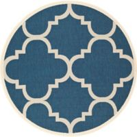 Safavieh Courtyard Quatrefoil 7-Foot 10-Inch Round Indoor/Outdoor Area Rug in Navy