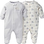 Gerber® Onesies® Brand Size 9M 2-Pack Organic Cotton Hedgehog Footie in White