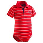 Under Armour® Size 0-3M Stripe Polo Bodysuit in Red