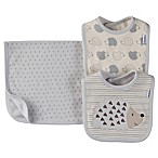 Gerber 3-Piece Organic Cotton Hedgehog Bib and Burp Set in Grey