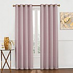 Luna Metallic 84-Inch Grommet Top Window Curtain Panel in Blush