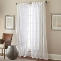 Talia 95 Inch Rod Pocket Back Tab Sheer Window Curtain Panel In White