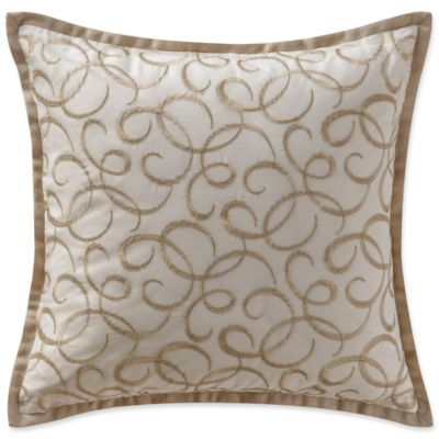 waterford chantelle metallic square throw pillow in taupe
