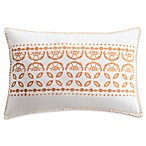 Bridge Street Marabelle Embroidered Oblong Throw Pillow in Ecru/Orange