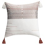 Bridge Street Marabelle Chevron Square Throw Pillow in White/Grey