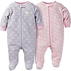 Gerber® Size 9M 2-Pack Daisy Heart Organic Cotton Footie in Pink/Grey