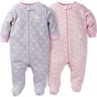 Gerber® Newborn 2-Pack Daisy Heart Organic Cotton Footie in Pink/Grey