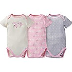 Gerber® Size 6M 3-Pack Love Bird Organic Cotton Bodysuits in Pink/Grey