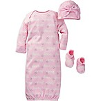 Gerber® Size 0-6M 3-Piece  Love  Organic Cotton Gown, Hat, and Bootie Set