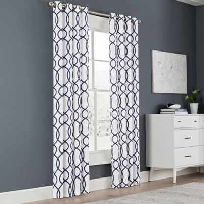Newport Wave 63 Inch Light Filtering Grommet Top Window Curtain Panel In Peacoat