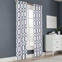 Newport Wave 84-Inch Light-Filtering Grommet Top Window Curtain Panel in Peacoat