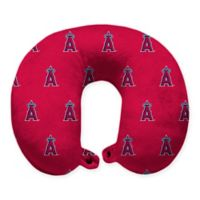 MLB Los Angeles Angels Plush Microfiber Travel Pillow with Snap Closure