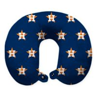MLB Houston Astros Plush Microfiber Travel Pillow with Snap Closure