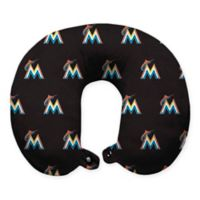 MLB Florida Marlins Plush Microfiber Travel Pillow with Snap Closure