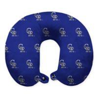 MLB Colorado Rockies Plush Microfiber Travel Pillow with Snap Closure