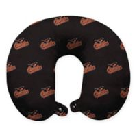 MLB Baltimore Orioles Plush Microfiber Travel Pillow with Snap Closure