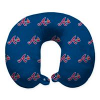 MLB Atlanta Braves Plush Microfiber Travel Pillow with Snap Closure