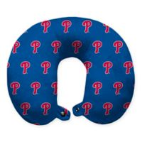 MLB Philadelphia Phillies Plush Microfiber Travel Pillow with Snap Closure