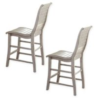 Uttermost Willow Counter Chairs in Distressed White(Set of 2)